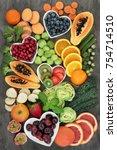 super food for a high fiber... | Shutterstock . vector #754714510