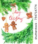 watercolor christmas greeting... | Shutterstock . vector #754714774