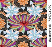 fabric for summer tropical... | Shutterstock .eps vector #754716070