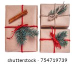 christmas gift boxes wrapped in ... | Shutterstock . vector #754719739