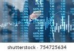 businessman plan graph growth... | Shutterstock . vector #754725634