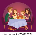 christmas family dinner.... | Shutterstock .eps vector #754726576
