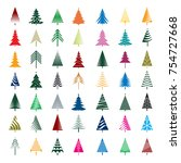 set of color christmas trees.... | Shutterstock .eps vector #754727668