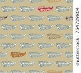 seamless pattern with rustic... | Shutterstock . vector #754729804