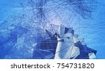 polygonal blue background.... | Shutterstock . vector #754731820