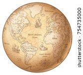 vector globe featuring a... | Shutterstock .eps vector #754735000