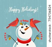 Happy Holidays Card. Red...