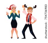 man and woman having fun ... | Shutterstock .eps vector #754736983