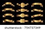 golden ribbon banner set.vector ... | Shutterstock .eps vector #754737349