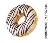 glazed donut  white frosting... | Shutterstock . vector #754737430