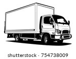 vector truck outline template... | Shutterstock .eps vector #754738009