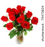 Stock photo roses bouquet isolated on white background 75473824