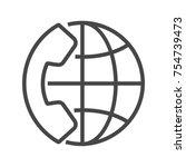 international call  thin line...   Shutterstock . vector #754739473