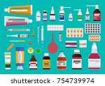 vector set of medicines. the... | Shutterstock .eps vector #754739974