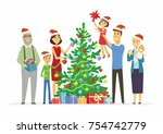 happy family decorates... | Shutterstock .eps vector #754742779