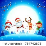 merry christmas  happy... | Shutterstock .eps vector #754742878