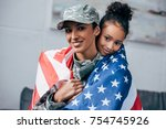 african american daughter and... | Shutterstock . vector #754745926