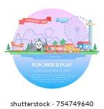run  ride and play   modern... | Shutterstock .eps vector #754749640
