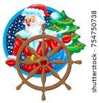 santa claus the sailor on ship... | Shutterstock .eps vector #754750738