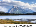 a view of mount rundle near... | Shutterstock . vector #754751470