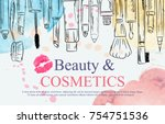 watercolor sketch of cosmetics... | Shutterstock .eps vector #754751536