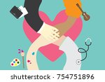 people hand together on big... | Shutterstock .eps vector #754751896