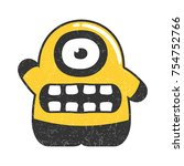 cute yellow character with... | Shutterstock .eps vector #754752766