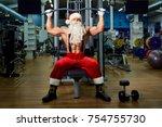 santa claus bodybuilder... | Shutterstock . vector #754755730