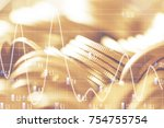double exposure rows of coins... | Shutterstock . vector #754755754