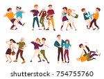 collection of fighting children.... | Shutterstock .eps vector #754755760