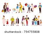 bundle of mountaineering and... | Shutterstock .eps vector #754755808