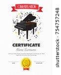 cute children piano class... | Shutterstock .eps vector #754757248