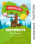 cute children scout adventure... | Shutterstock .eps vector #754757254