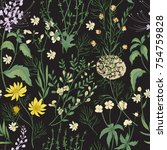 elegant floral seamless pattern ... | Shutterstock .eps vector #754759828