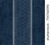 sashiko indigo dye pattern with ... | Shutterstock .eps vector #754760590