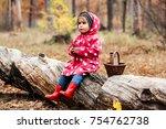 little girl in autumn forest...   Shutterstock . vector #754762738
