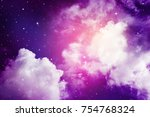 space of night purple sky with... | Shutterstock . vector #754768324