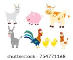 set of 6 farm animals in a... | Shutterstock .eps vector #754771168