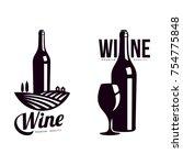 bottle of wine on background of ... | Shutterstock .eps vector #754775848