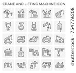 crane and lifting machine... | Shutterstock .eps vector #754776208