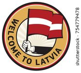 latvia country welcome sign or...   Shutterstock .eps vector #754779478