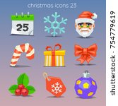 funny christmas icons | Shutterstock .eps vector #754779619