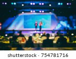 disfocus of two speeker on... | Shutterstock . vector #754781716