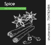 vintage hand drawn star anise ...   Shutterstock .eps vector #754782484