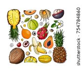 exotic fruits on a white... | Shutterstock .eps vector #754784860