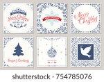 ornate square winter holidays... | Shutterstock .eps vector #754785076