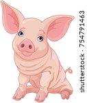illustration of cute pig  | Shutterstock .eps vector #754791463