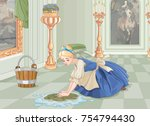 sad cinderella cleaning the... | Shutterstock .eps vector #754794430