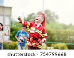 little boy in fireman costume... | Shutterstock . vector #754799668