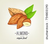 colourful almond icon isolated... | Shutterstock .eps vector #754803190